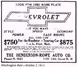 Earlier Bowtie Ad from the Washington Post - October, 2, 1913.